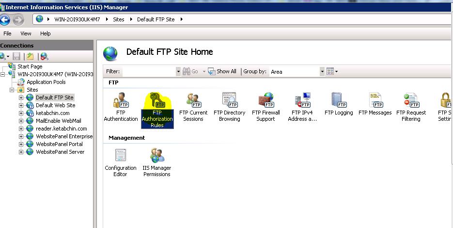 خطا در اتصال به ftp در سرور ویندوزی