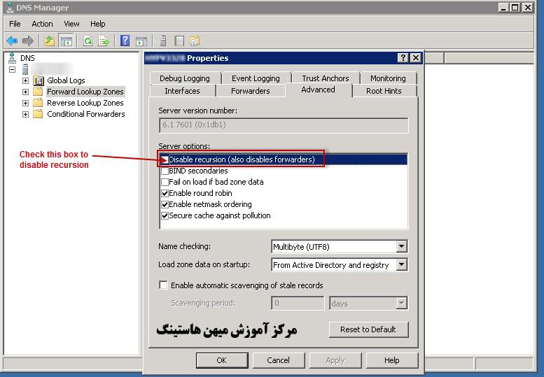 غیر فعال کردن DNS Recusion