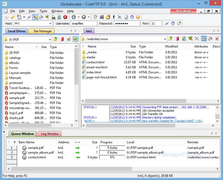 تنظیمات  نرم افزار CuteFTP